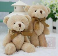 Bow tie brown teddy bear mini joint plush keychain bear bouquet toy/phone