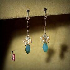 Boucles d`Oreilles Clip Perles de Culture D'eau Douce Gotte Bleu Original Cadeau