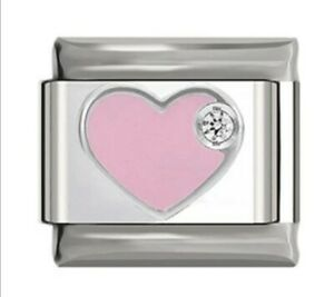 HEART Pink with gem -Charm-Fits Nomination- NEW in Gift Pouch -NC53
