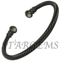 MENS WOMENS BLACK TWIST PURE COPPER MAGNETIC BANGLE PAIN RELIEF ARTHRITIS GIFT