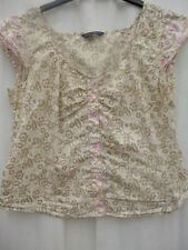 18 Dorothy Perkins camisole blouse top floral cream beige floral gypsy peasant