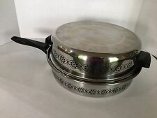 Ekco 3 Ply Stainless Skillet Frypan With Dome Lid Black Floral Pattern