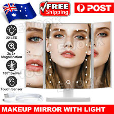 Makeup Mirror With LED Light Standing Mirror Magnifying Tri-Fold Touch NEW