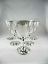 Art Deco set of 6  SILVER WINE GOBLETS, Beddoes & Co 1929