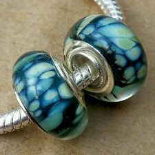 2 Teal Animal Snake Skin 925 Silver Wide Single Core European Murano Glass Beads