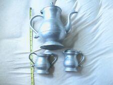 Vintage Pewter Tea set Pot Sugar Cream Creamer Teapot hinged lids see desc.