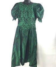 VTG 80s Prom Dress Iridescent Emerald Green Taffeta Puff Sleeve Bow Christmas L