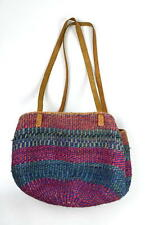Vtg Leather Multi Color Straw Woven Wicker Basket Bucket Shoulder Bag Purse Sack