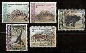 LAOS 1969, WILD ANIMALS, FAUNA, Scott 192-193,C59-C61. MNH