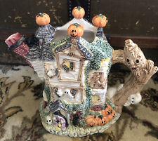 Vintage 1993 Fitz & Floyd Omnibus Haunted House Halloween Pitcher 2 Qt Witch