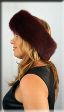 New Burgundy Fox Fur Headband 26 Inches Long and 5 Inches Wide - Efurs4less