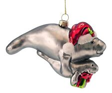 Manatee Mom and Baby Presents Christmas Ornament