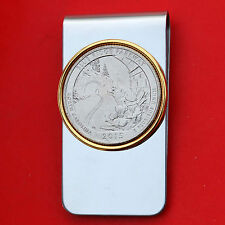 US 2015 North Carolina Blue Ridge Parkway UNC Quarter Coin Two Toned Money Clip