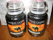 Yankee Candle HAPPY HALLOWEEN Set of Two 2 Large Jar 22 oz Candles Cat Scarecrow