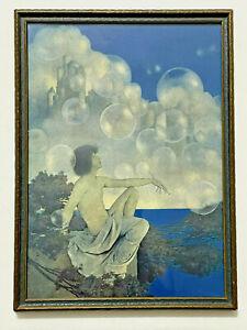 "Antique Maxfield Parrish AIR CASTLES Framed Print 16"" x 11 1/2"""