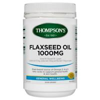 New THOMPSON'S Gel-Free Flaxseed Oil 1000mg 400 Capsules Thompsons Flax Seed Oil