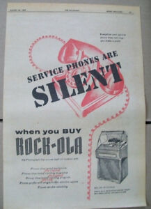 Rock-ola 200 120 50 selection phonograph 1957 Ad- service phones are silent