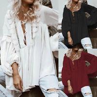 Plus Size Women Lace Floral Top Long Sleeve Tunic Shirt Ladies Loose Blouse 8-26