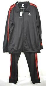 Adidas Mens Black Full-Zip 3-Striped Athletic Running Jacket Pants Tracksuit 3XL