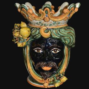 Moors kopf Männchen Schwarz Zitronen IN Keramik Über Caltagirone Vase Aus Hand
