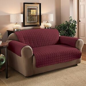 NEW Innovative Textile Solutions Burgundy Quilted Microfiber Loveseat Protector