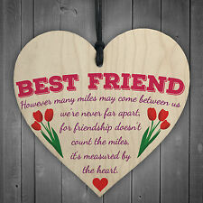 Friendship Measured By Heart Wooden Floral Hanging Heart Sign Best Friends Gift