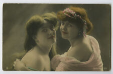 c1904 French early Traut BEAUTY PAIR Pretty Young Ladies Beauties photo postcard
