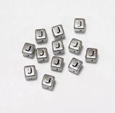 "6mm Silver Metallic Alphabet Beads Black Letter ""J"" 100pc"
