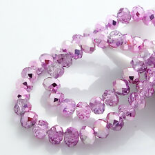 hot 80pcs Rondelle Faceted Crystal Glass Loose Spacer Beads 8mm DIY 248color