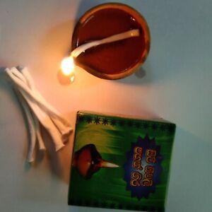100 Pcs Clay Oil Lamp Candle Wicks Cotton Core  Smoke Handmade Ceylon Home