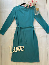 M&S Sizes 14 16 22 teal cosy soft long sleeve belted jumper dress smart career