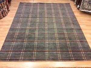 Modern Grey & Multi Colour Striped Handwoven Wool Rug XXL Large 246x308cm 60%OFF