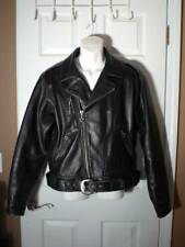 HARLEY DAVIDSON Men's Distressed Black Leather JACKET W/BELT Size L Large