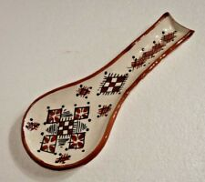 Hand Painted Glazed Spoon Rest * RUSTIC Safi Pottery * Brown & white