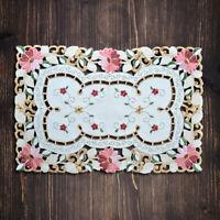 Vintage Bestickt Tischset Platzset Blumen Spitze Deckchen Mitteldecken Esszimmer