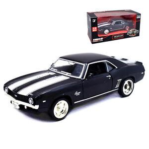 1:36 1969 Chevrolet Camaro SS Metal Model Car Pullback Toy Matte Black