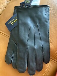 POLO RALPH LAUREN 100% leather touch screen gloves black pony Sz M NWT$67.99 MA