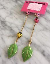 Auth. Betsey Johnson vintage critters mismatch bug ladybug leaf flowers earrings
