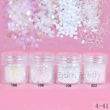 1mm weiß Nagel Glitter Puder Nail Art Acryl Powder Glitterstaub Dekoration