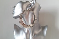 1 pair of HUGE patterned silver tone hoop drop - dangle CLIP ON earrings * NEW *