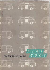 FIAT 600T (TYPE 200 B1) VAN & CARRYALL ORIGINAL 1970 OWNERS INSTRUCTION HANDBOOK