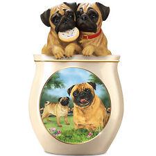 Linda Picken Pug Art Ceramic Cookie Jar, Sculpted Lid