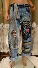 WOW Levi's Jeans 34 Waist Embellished Ripped Distressed Boho Hippie Pants tmyers