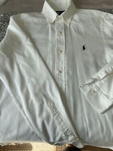 Ralph Lauren White Fitted Small Petite Dress Shirt Made In Italy
