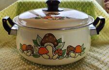 Vtg Mushroom Cookware Enamel Ware Large Pot Sauce Pan W/ Lid