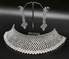 Indian Bollywood Style Fashion CZ AD Silver Jewelry Choker Necklace Set