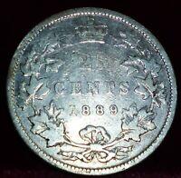 1889 CANADA QUARTER  DOLLAR 25 CENTS  (Twenty-Five Cents)