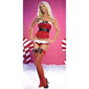 Leg Avenue Velvet Corset and Hot Pants Costume Xmas UK 10 12 M L Elf Pom Pom