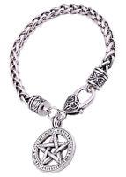 Pentagram Pendant with Viking Runes Pagan Pentacle Wheat Chain Bracelet Vintage