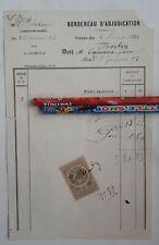 1883+bordereau d'adjudication+Delahaye+vente au enchère+Facture doeuvre d'Art
